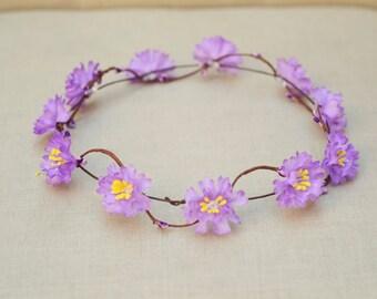 THE PLUM - Purple Flower Halo Crown Vine  Hair Jewelry Hair Accessories Boho Floral Crown Hippie Girls Spring  Flower Girl Christmas Crown