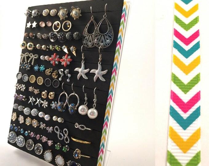 Earring Holder - Bright Chevron Ribbon - Hook & Stud Earring Organizer