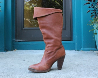 70's/80's Brown Leather Steel Toe Trim Boots