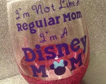 Disney Mom wine Glass