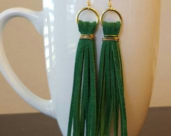 Green Suede Tassel Earrings
