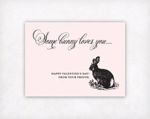 Printable Valentine, Printable Kids Valentine Card Toddler Girls Valentine Cards, Some Bunny Loves You Valentines Day Card Bunny Rabbit Card