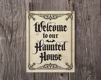 8x10 Halloween Printable, Halloween Art, Halloween Print, Welcome To Our Haunted House Halloween Door Sign, Gothic Halloween Party Decor