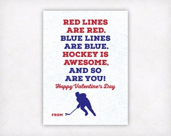 Printable Kids Valentine Card, Printable Valentine, Hockey Valentines Day Cards, Boys Valentine Cards, School Classroom Sports Valentine