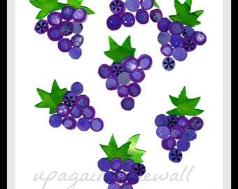Purple Grapes Print. Colorful kitchen print.