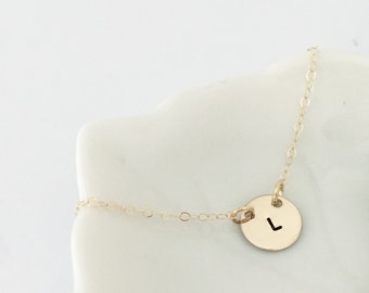 Hand stamped initial pendant necklace- two tone- 14k gold filled initial, sterling silver, initial jewelry