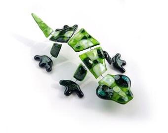 Green fused glass Lizard