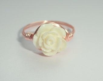 White Rose ring, Rose gold rose wire ring, Coral rose ring, White coral Rose ring, Flower ring, White flower ring, Flower girl gift