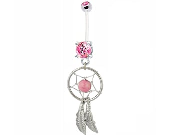 Pregnancy Belly Button Ring Silvertone DREAM CATCHER Pink Bead Pink Gems Curved Feathers 14g BioFlex PTFE Maternity Jewelry