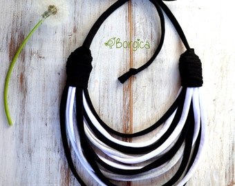 Black and white - upcycled multistrand necklace, fiber jewelry, eco friendly necklace, colorful jersey stripes