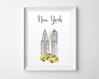 New York Watercolor Wall Art, Yellow Taxi, New York, Digital Print, Watercolor Print, NYC Wall Art, Watercolor Art, City Poster, Home Decor