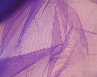"Nylon Tulle Net Fabric, Mystic Purple color; 54"" wide netting priced per 1 yard"