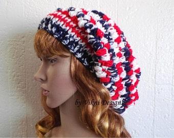 Crochet American Flag Slouchy Beanie Hat, Womens Slouchy Hat, Winter Hat by Vikni Designs