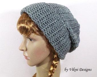 Crochet Men & Womens Slouchy Hat Beanie, Gray Winter Crochet Unisex Beanie Hat by Vikni Designs