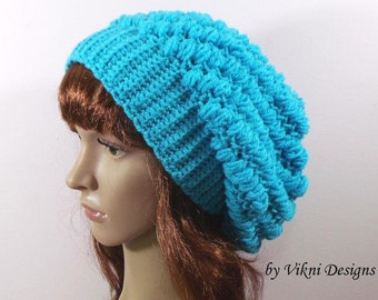 Winter Crochet Slouchy Hat, Women Hat, Sky Blue Crochet Womens Knit Beanie by Vikni Designs