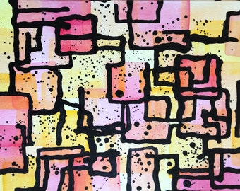 Abstract Painting, Watercolor Splatters, Original Art
