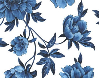 Beautiful Large Blue Floral on White, True Blue, Timeless Treasures (By 1/2 yd)