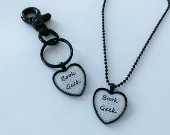 CLEARANCE YOU PICK Book Geek Black and White Heart Shaped Cameo Necklace or Clip