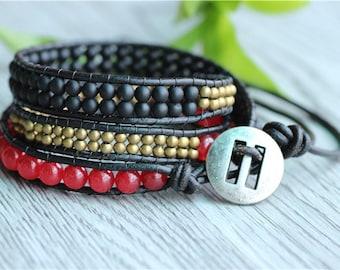 3 wrap bracelet, 3x wrap leather bracelet, bohemian bracelet,wrap bracelet, leather wrap bracelet, beaded wrap bracelet, Artisan Boho Chic