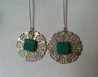 silver and jade dangles