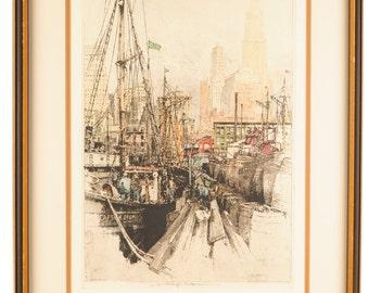 "Luigi Kasimir ""Fulton Market New York"" 1936 color Etching-Pencil Signed"