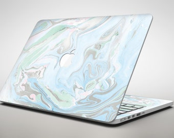 Marbleized Swirling Blue v2 - Apple MacBook Air or Pro Skin Decal Kit (All Versions Available)