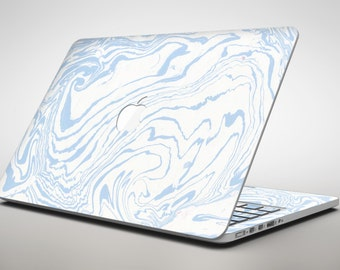 Marbleized Swirling Soft Blue - Apple MacBook Air or Pro Skin Decal Kit (All Versions Available)