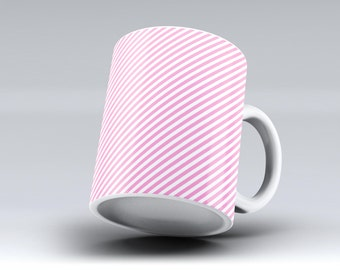 The Pink and White Slanted Stripes -ink Fuzed Ceramic Coffee Mug or Tea Cup