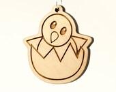 Hatching Chick Emoji Keychain - Wooden Baby Chicken Emoji Carved Wood Key Ring - Hatching Baby Chick Emoji