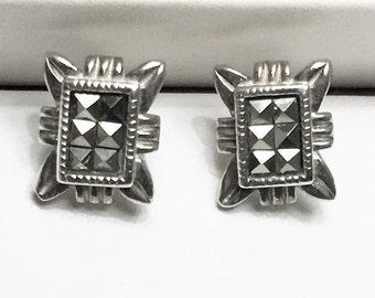 Vintage Sterling Silver Marcasite Studs, Ornate Design, Square cut Stones, 11 X 9 mm