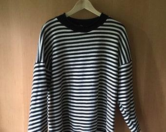 90's Black White Striped Mock Turtleneck Sweater, Ladies M L
