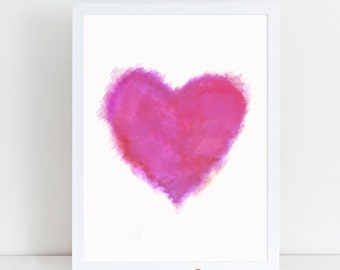 Heart printable - Valentine heart wall art - heart wall art - pink heart wall art - pink heart nursery wall decor - pink nursery wall art