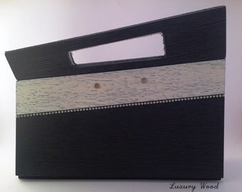 Wooden black and gold clutch bag with inset rhinestones