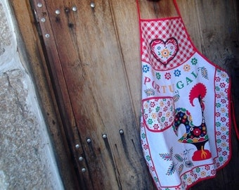 PURE COTTON APRON, Barcelos rooster, hearts and flowers, lucky charm,folk,Portuguse traditional, kitchenalia