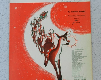 1949 Rudolph The Red-Nosed Reindeer Sheet Music, Children's Edition