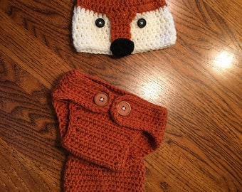fox hat and diaper cover set crocheted