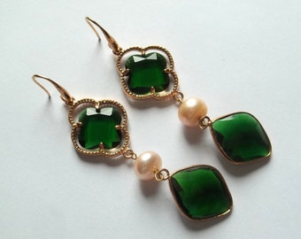 Handmade earrings made of brass, with Baroque pearls and stones Emerald hydrothermal
