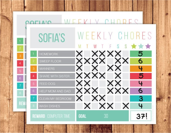 weekly reward chart printable