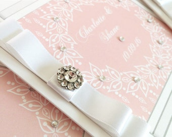 20 x Sparkly Wedding Invites Luxury, Satin Ribbon Bow and Embellishment Invitations (larger quantities available)