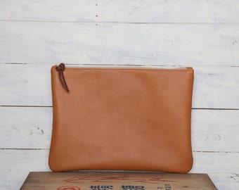 Brown Leather Clutch Bag //// Leather clutch, brown leather clutch, soft leather clutch, lined clutch, minimal leather clutch < LCB01-12>