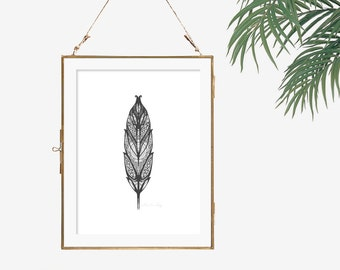 Grey feather artwork monochrome wall art black and white print art feather poster office wall art poster tribal wall art feather decor art
