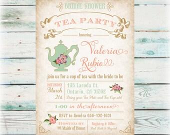 Floral Tea Party Bridal Shower Invitation - DIY Digital File