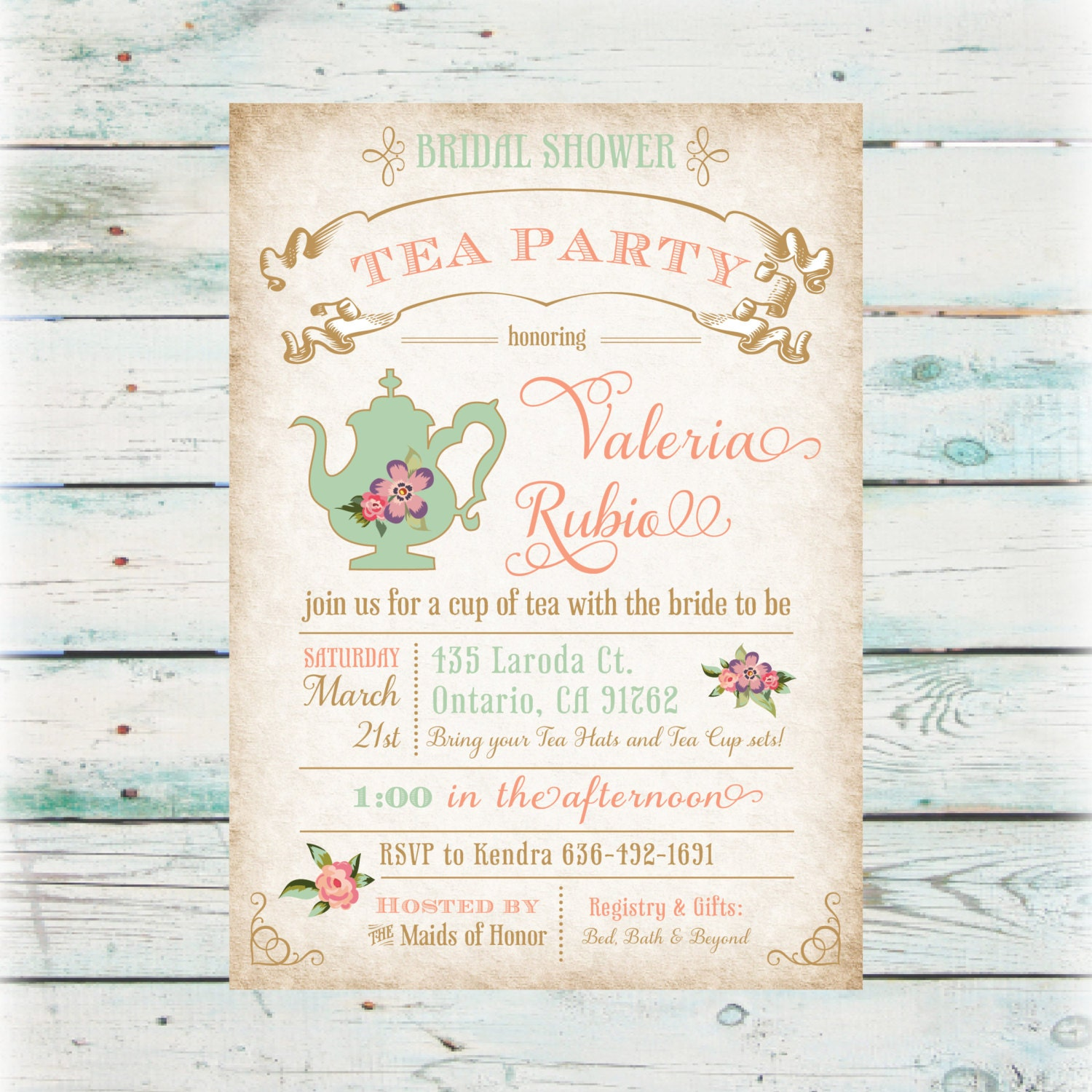 Wedding Party Invitations: Floral Tea Party Bridal Shower Invitation DIY Digital File