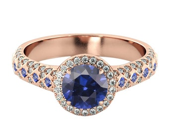 Blue Sapphire 2.50 ctw Engagement Ring with Diamonds 14K Rose Gold Vintage Micro Pave Halo