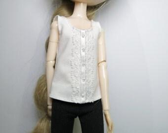 White Sleeveless Blouse w/ Lace for Pullip/Blythe/Obitsu/Momoko
