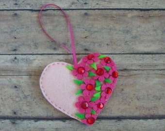 Light Pink Felt Heart Ornament With Pink Flowers