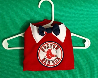 Boston Red Sox Pet Top and Bow Tie, Boston Red Sox Dog Dog Top, MLB Dog Top, MLB Pet Top, Red Sox Dog Shirt and Bow Tie, Velcro Dog Top