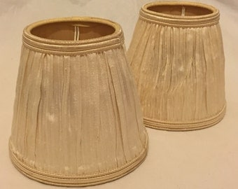 Vintage Pair Of Ivory Silk Ruched Clip On Lampshades