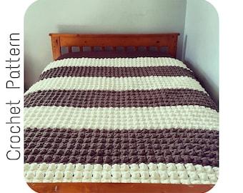 Crochet PATTERN   Chunky Blanket Crochet Pattern   Crochet Bulky Throw Pattern   Quick Easy Crochet Pattern   Toasty S'mores Throw Pattern