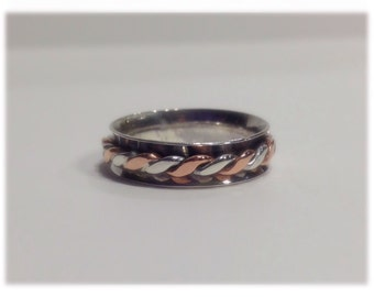Sterling Silver Spinner Ring. Narrow Spinner Ring. Turning ring. Sterling Silver Fidget Ring - Sterling Silver Worry Ring